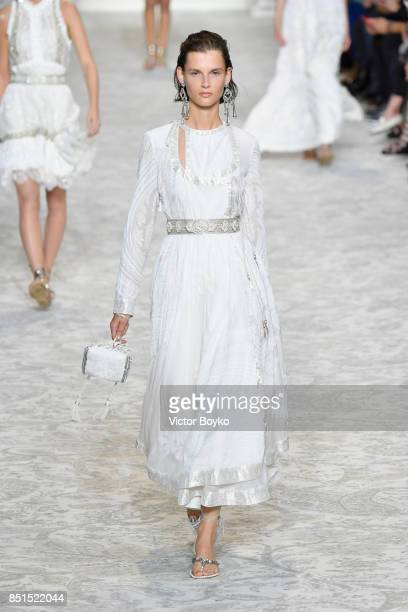 A model walks the runway at the Etro show during Milan Fashion Week Spring/Summer 2018 on September 22 2017 in Milan Italy