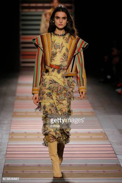 A model walks the runway at the Etro show during Milan Fashion Week Fall/Winter 2018/19 on February 23 2018 in Milan Italy