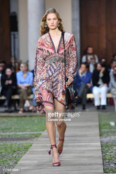 Model walks the runway at the Etro show during the Milan Fashion Week Spring/Summer 2020 on September 20, 2019 in Milan, Italy.