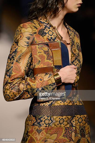 A model walks the runway at the Etro show during the Milan Fashion Week Autumn/Winter 2015 on February 27 2015 in Milan Italy