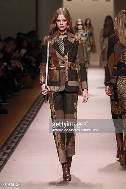 A model walks the runway at the Etro show during the Milan Fashion Week Fall/Winter 2015 on February 27 2015 in Milan Italy
