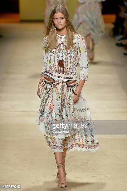 Model walks the runway at the Etro Spring Summer 2015 fashion show during Milan Fashion Week on September 19, 2014 in Milan, Italy.