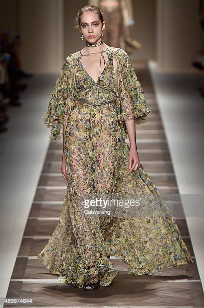 A model walks the runway at the Etro Spring Summer 2016 fashion show during Milan Fashion Week on September 25 2015 in Milan Italy