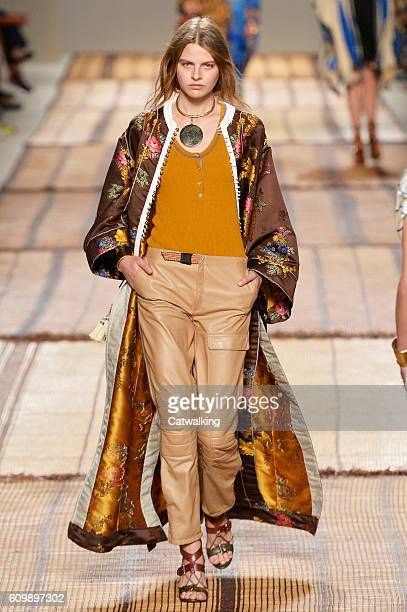 A model walks the runway at the Etro Spring Summer 2017 fashion show during Milan Fashion Week on September 23 2016 in Milan Italy