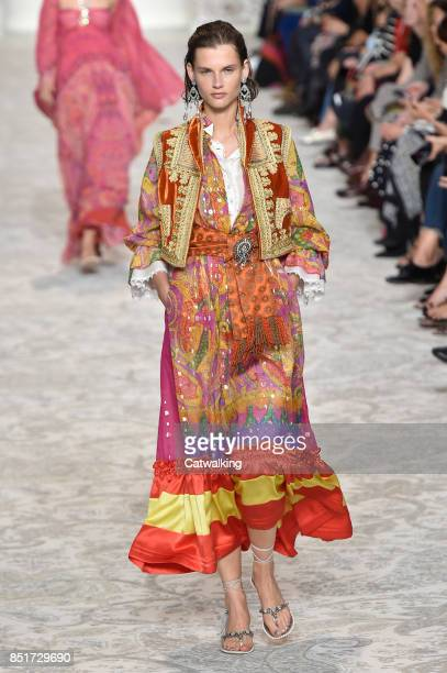 A model walks the runway at the Etro Spring Summer 2018 fashion show during Milan Fashion Week on September 22 2017 in Milan Italy