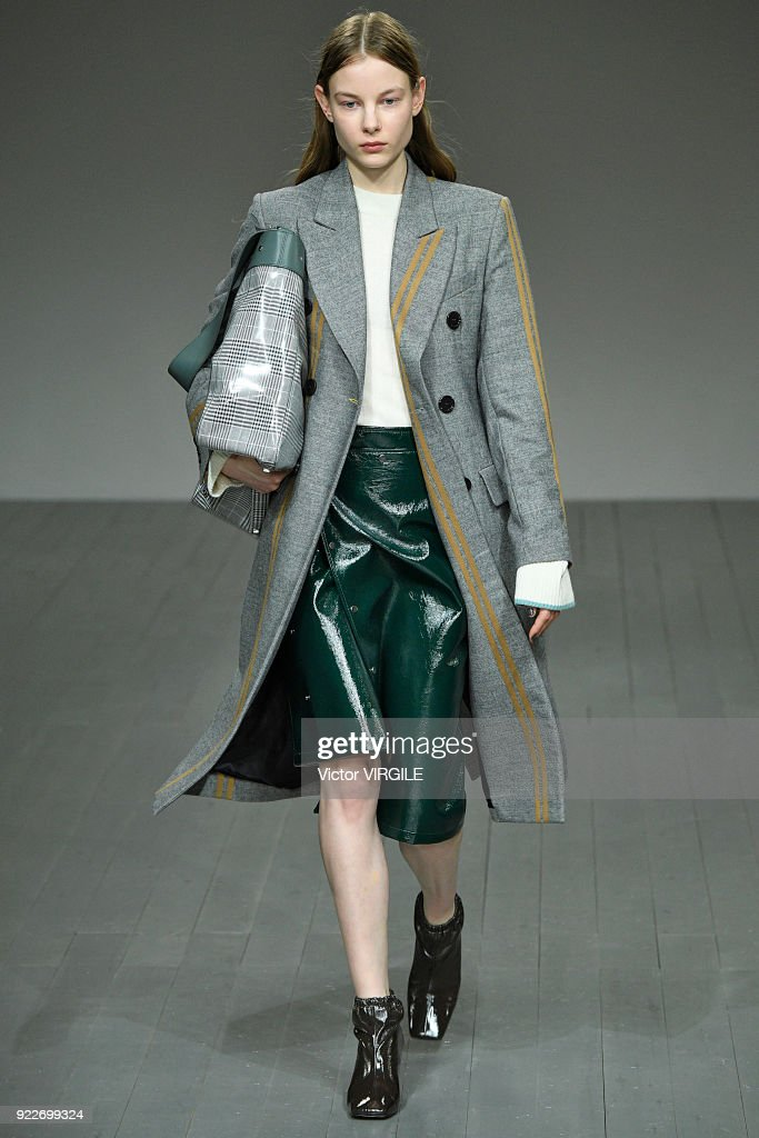 A model walks the runway at the Eudon Choi Ready to Wear Fall/Winter 2018-2019 fashion show during London Fashion Week February 2018 on February 20, 2018 in London, England.