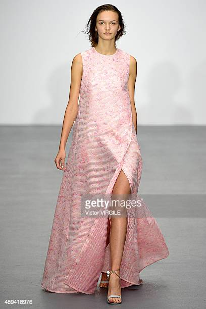 A model walks the runway at the Eudon Choi Ready to Wear show during London Fashion Week Spring/Summer 2016 on September 18 2015 in London England