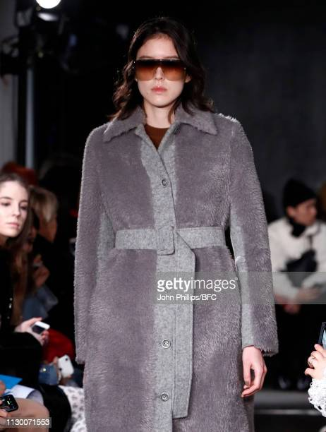 A model walks the runway at the Eudon Choi show during London Fashion Week February 2019 at the BFC Show Space on February 16 2019 in London England