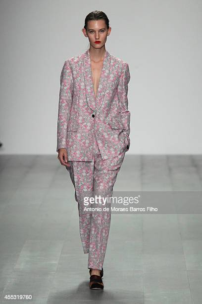 A model walks the runway at the Eudon Choi show during London Fashion Week Spring Summer 2015 at Somerset House on September 12 2014 in London England
