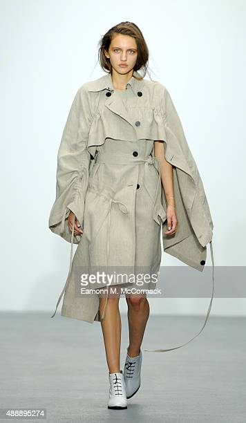 A model walks the runway at the Eudon Choi show during London Fashion Week Spring/Summer 2016/17 on September 18 2015 in London England