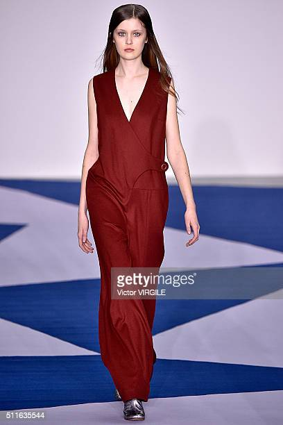 A model walks the runway at the Eudon Choi show during London Fashion Week Autumn/Winter 2016/2017 on February 19 2016 in London England