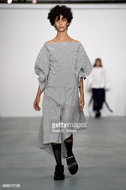 A model walks the runway at the Eudon Choi show during London Fashion Week Spring/Summer collections 2017 on September 16 2016 in London United...