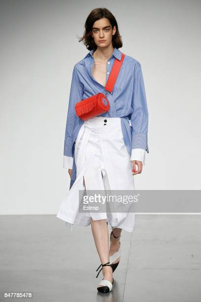 A model walks the runway at the Eudon Choi show during London Fashion Week September 2017 on September 15 2017 in London England