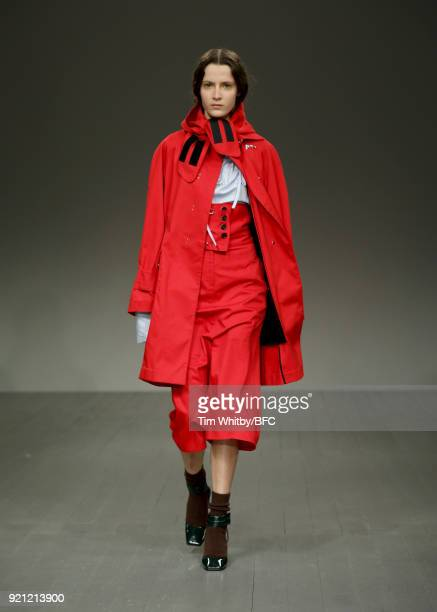 A model walks the runway at the Eudon Choi show during London Fashion Week February 2018 at BFC Show Space on February 20 2018 in London England