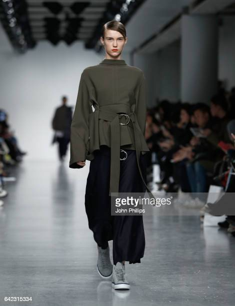 A model walks the runway at the Eudon Choi show during the London Fashion Week February 2017 collections on February 17 2017 in London England