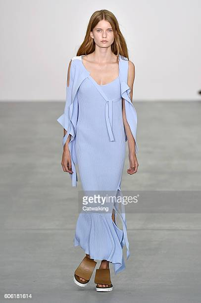A model walks the runway at the Eudon Choi Spring Summer 2017 fashion show during London Fashion Week on September 16 2016 in London United Kingdom