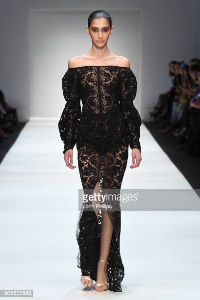 A model walks the runway at the Ewa Herzog show during the MBFW Berlin January 2018 at ewerk on January 16 2018 in Berlin Germany