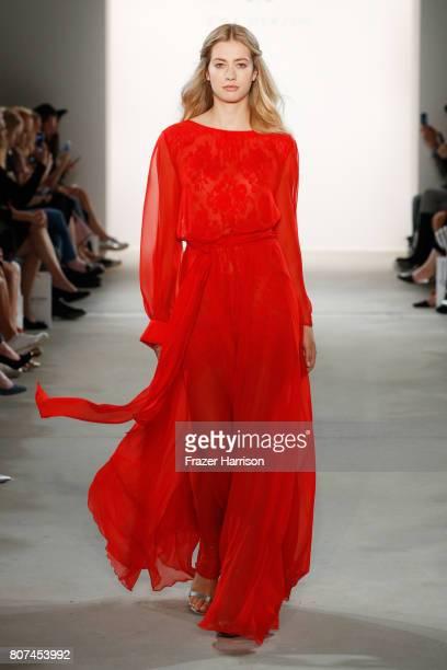 A model walks the runway at the Ewa Herzog show during the MercedesBenz Fashion Week Berlin Spring/Summer 2018 at Kaufhaus Jandorf on July 4 2017 in...