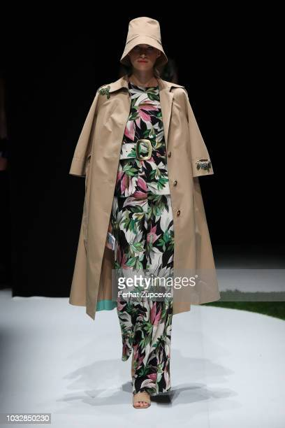 A model walks the runway at the Exquise show during the MercedesBenz Istanbul Fashion Week at Zorlu Performance Hall on September 13 2018 in Istanbul...