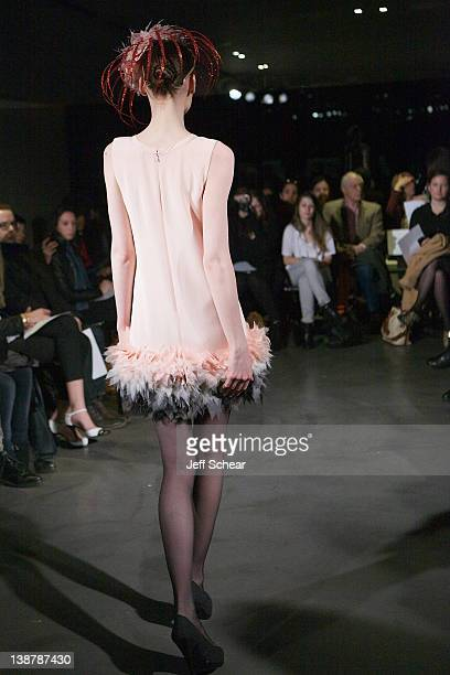 A model walks the runway at the Fabiola Arias fall 2012 fashion show during MercedesBenz Fashion Week at the Hotel Americano on February 10 2012 in...