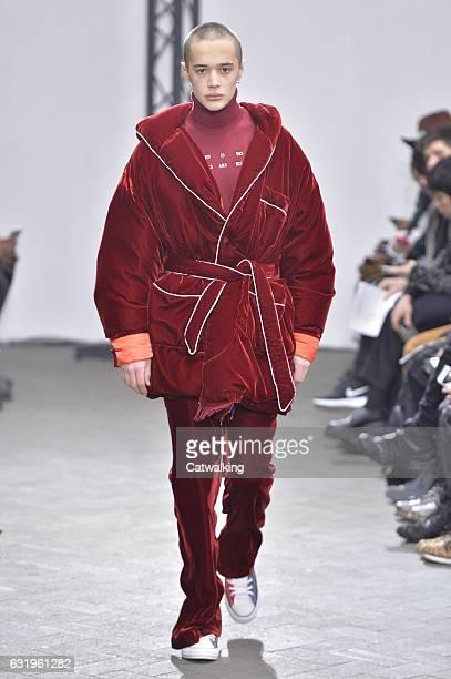 Model walks the runway at the Facetasm Autumn Winter 2017 fashion show during Paris Menswear Fashion Week on January 18, 2017 in Paris, France.