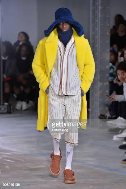 9fe66fe2996 A model walks the runway at the Facetasm Autumn Winter 2018 fashion show  during Paris Menswear. Street Style - July 2018 Men s Fashion Week