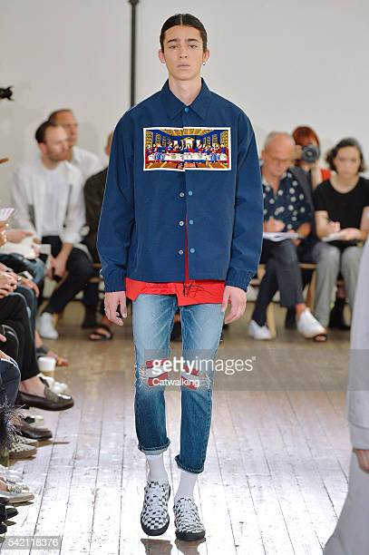 A model walks the runway at the Facetasm Spring Summer 2017 fashion show during Paris Menswear Fashion Week on June 22 2016 in Paris France