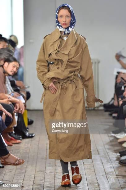A model walks the runway at the Facetasm Spring Summer 2018 fashion show during Paris Menswear Fashion Week on June 21 2017 in Paris France