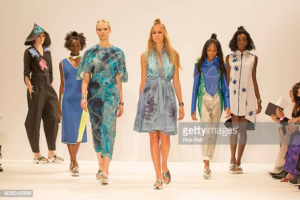 A model walks the runway at the FAD show at Fashion Scout during London Fashion Week Spring/Summer collections 2016/2017 on September 19 2016 in...