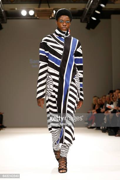 A model walks the runway at the FAD show during the London Fashion Week February 2017 collections on February 20 2017 in London England