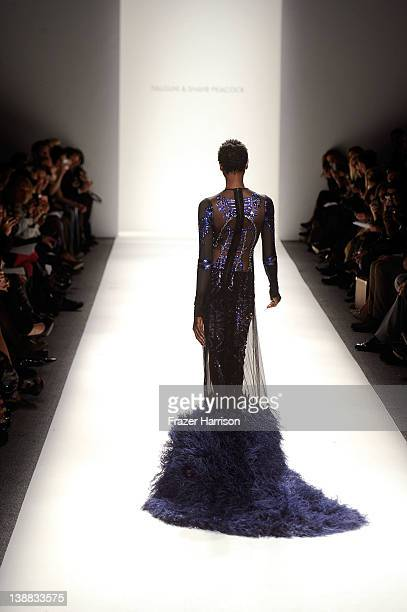A model walks the runway at the Falguni and Shane Peacock Fall 2012 fashion show during MercedesBenz Fashion Week at The Studio at Lincoln Center on...