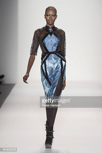 A model walks the runway at the Falguni Shane Peacock Fall 2013 fashion show during MercedesBenz Fashion Week at The Studio at Lincoln Center on...