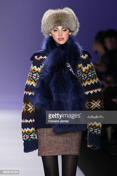 A model walks the runway at the Farley Chatto fashion show during World Mastercard fashion week on March 20 2014 in Toronto Canada