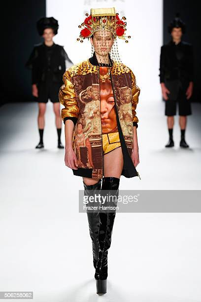 A model walks the runway at the Fashion Designs By Shih Chien University show during the MercedesBenz Fashion Week Berlin Autumn/Winter 2016 at...