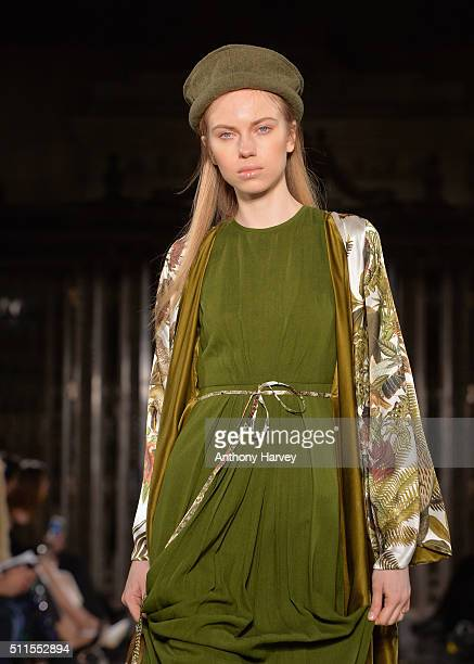 A model walks the runway at the Fashion DNA Pakistan show at Fashion Scout during London Fashion Week Autumn/Winter 2016/17 at Freemasons' Hall on...
