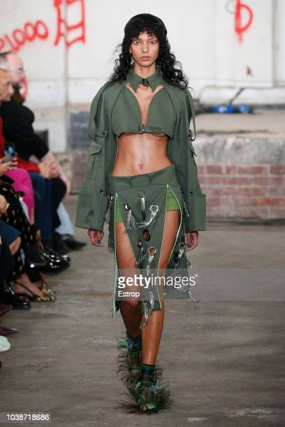 A model walks the runway at the Fashion East Asai show during London Fashion Week September 2018 at XXXX on September 16 2018 in London England