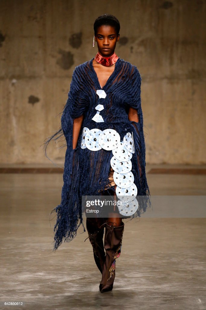 A model walks the runway at the Fashion East by Asai show during the London Fashion Week February 2017 collections on February 18, 2017 in London, England.