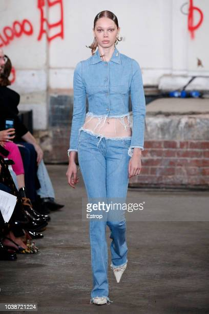 A model walks the runway at the Fashion East Knowles show during London Fashion Week September 2018 at XXXX on September 16 2018 in London England