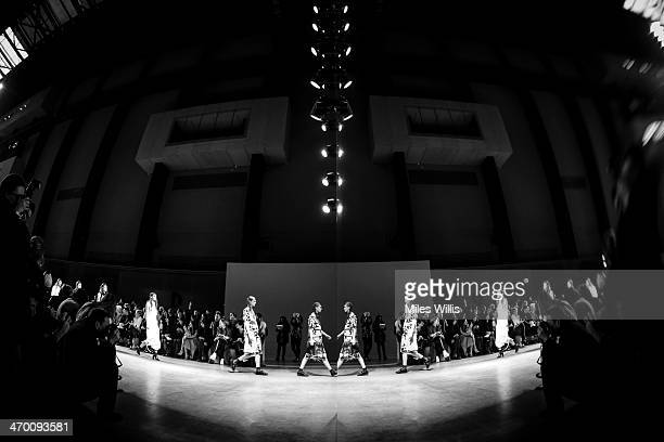 A model walks the runway at the Fashion East show at London Fashion Week AW14 at Tate Modern on February 18 2014 in London England