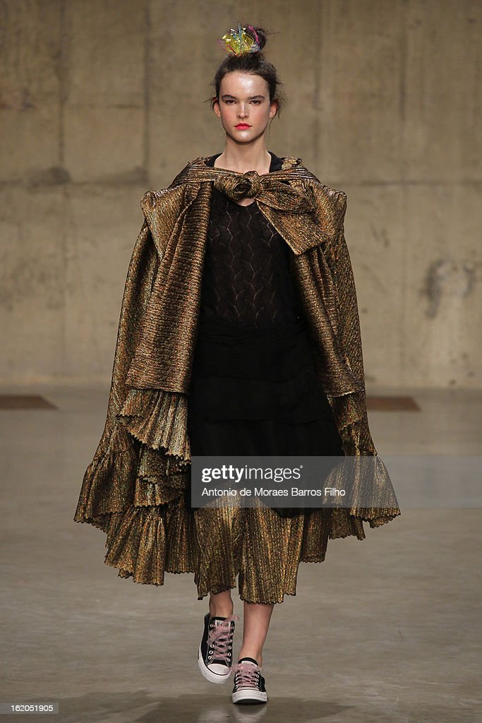 A model walks the runway at the Fashion East show during London Fashion Week Fall/Winter 2013/14 at TopShop Show Space on February 18, 2013 in London, England.