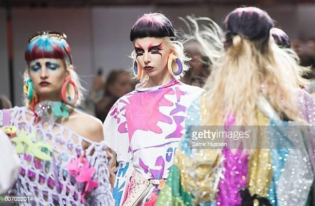 A model walks the runway at the Fashion East show during London Fashion Week Spring/Summer collections 2016/2017 on September 17 2016 in London...