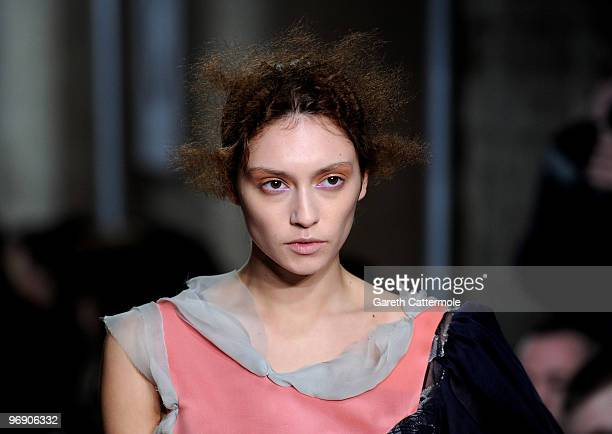 Model walks the runway at the Fashion East show during London Fashion Week at the BFC Show Space at Somerset House on February 20, 2010 in London,...