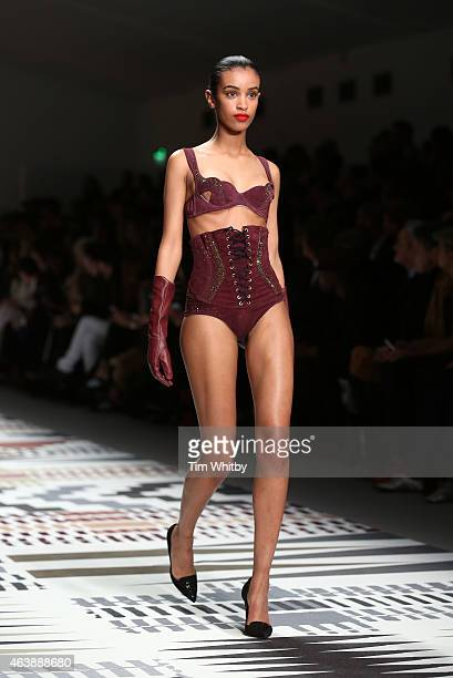 Model walks the runway at the Fashion For Relief charity fashion show to kick off London Fashion Week Fall/Winter 2015/16 at Somerset House on...