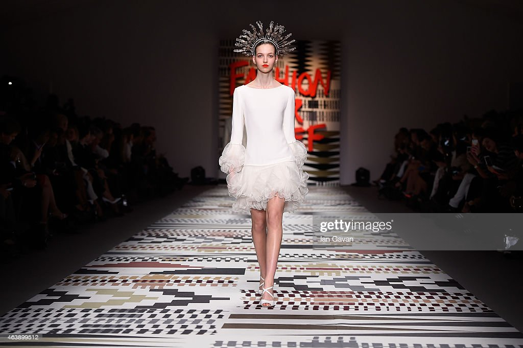 A model walks the runway at the Fashion For Relief charity fashion show to kick off London Fashion Week Fall/Winter 2015/16 at Somerset House on February 19, 2015 in London, England. The Fashion For Relief show is in support of Ebola, raising funds and awareness for Disaster Emergency Committee: Ebola Crisis Appeal and the Ebola Survival Fund.