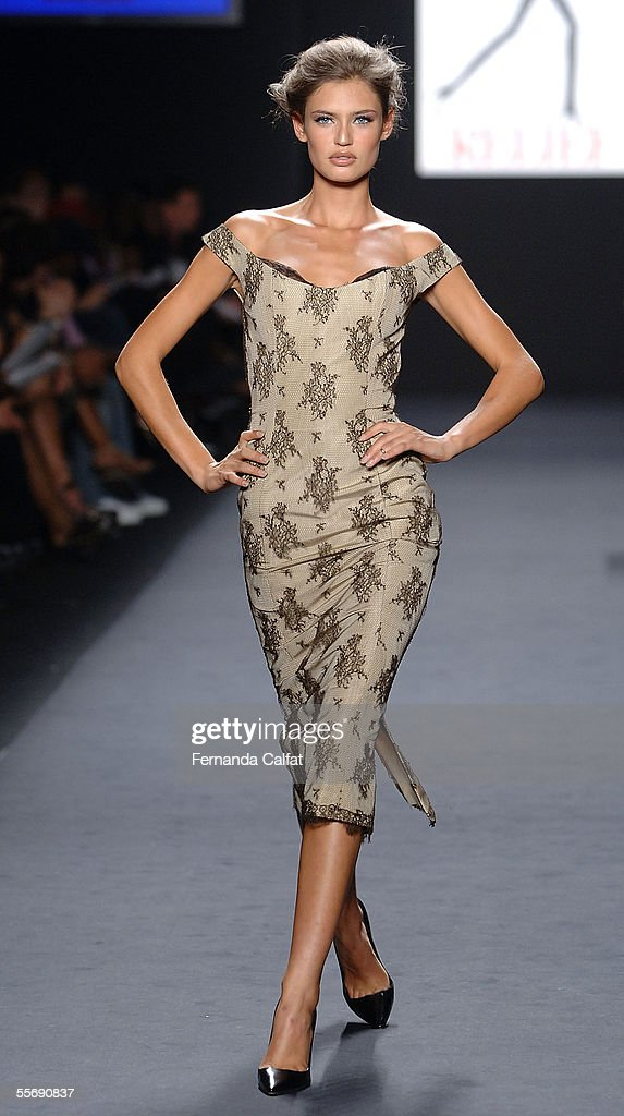 A model walks the runway at the 'Fashion for Relief' fashion show, with proceeds going to aid Hurricane Katrina victims, during Olympus Fashion Week at Bryant Park September 16, 2005 in New York City.