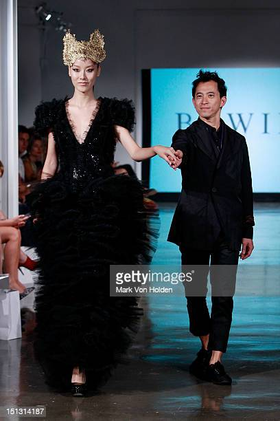 Model walks the runway at the Fashion Palette NY Debut spring 2013 fashion show during Mercedes-Benz Fashion Week at Canoe Studios on September 5,...