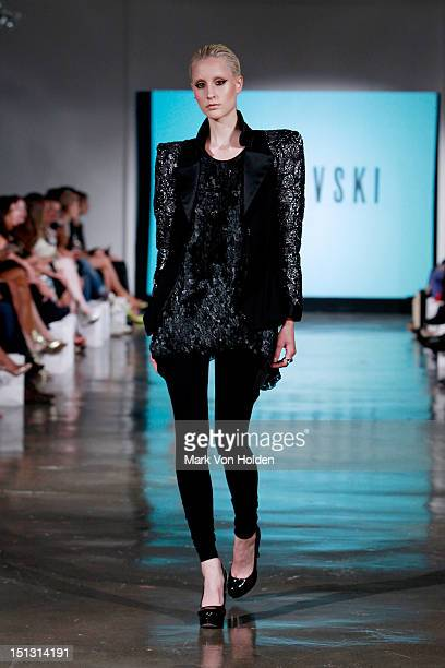 A model walks the runway at the Fashion Palette NY Debut spring 2013 fashion show during MercedesBenz Fashion Week at Canoe Studios on September 5...