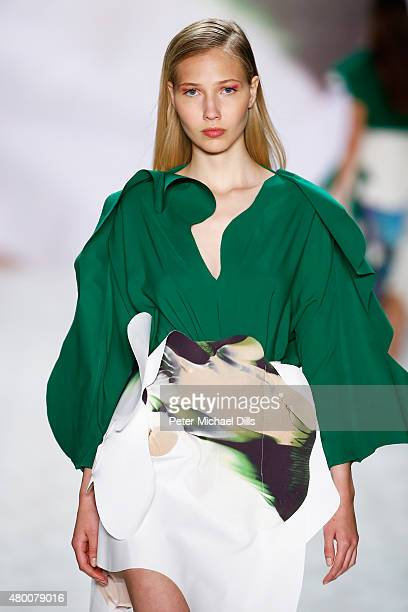 A model walks the runway at the fashion talent award 'Designer for Tomorrow' by Peek Cloppenburg and Fashion ID hosted by Zac Posen during the...