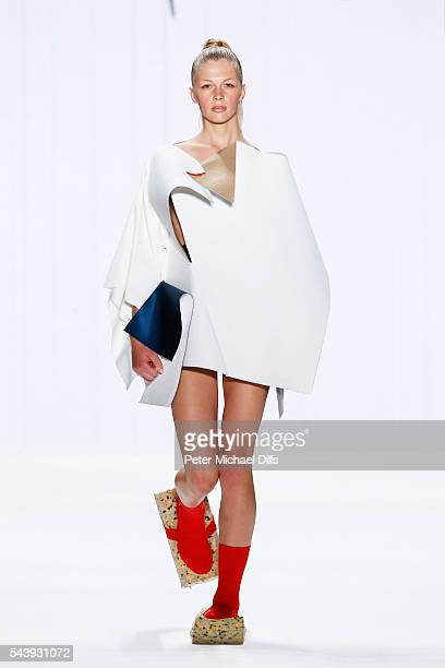 A model walks the runway at the fashion talent award 'Designer for Tomorrow' by Peek Cloppenburg and Fashion ID hosted by Alber Elbaz during the...