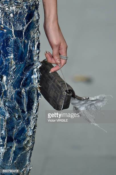 A model walks the runway at the Faustine Steinmentz Ready to Wear Spring/Summer 2018 fashion show during London Fashion Week September 2017 on...